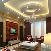新中式客厅圆形吊顶led灯饰