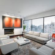 简约风格客厅白色沙发设计