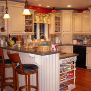 美式乡村风格厨房吧台效果图