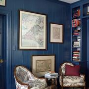 客厅蓝色背景墙设计