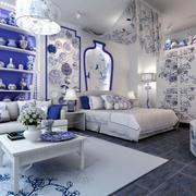 青花瓷花纹客厅设计