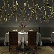 创意风格西餐厅背景墙装饰