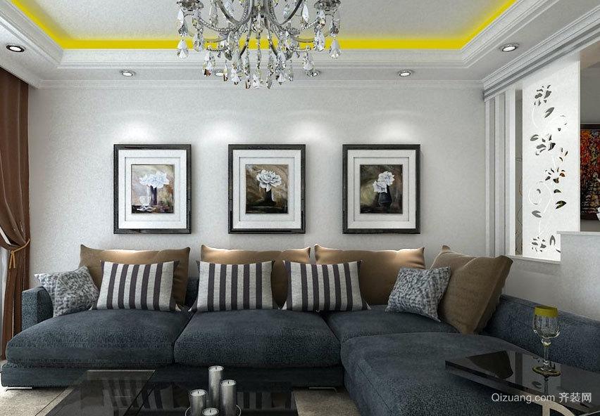 欧式客厅休闲沙发背景墙装修效果图实例欣赏图集