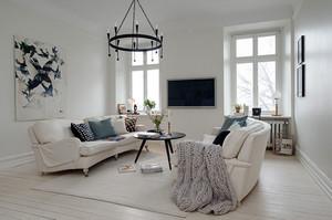 2015安静平和的简欧风格三室两厅公寓装修效果图