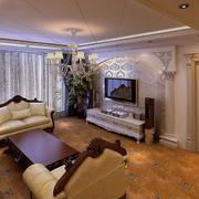简约风格欧式错层客厅沙发设计