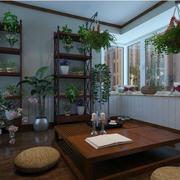 东南亚露台深色原木桌椅