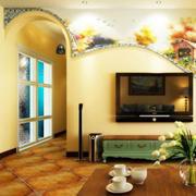 客厅室内深色拱形门设计