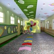 小学班级清新自然风格过道吊顶设计