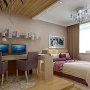 卧室清新原木吊顶
