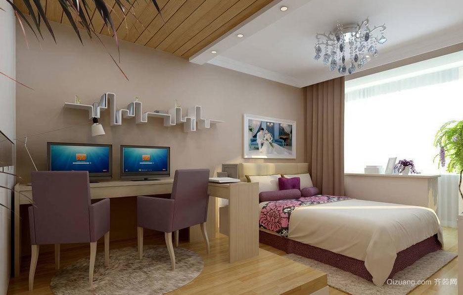 唯美时尚 现代简约的小卧室吊顶装修效果图