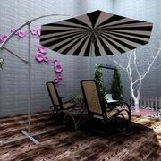 别墅阳台遮阳伞装饰