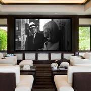 简约家庭影院白色沙发效果图