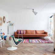 北欧简约风格客厅皮制沙发