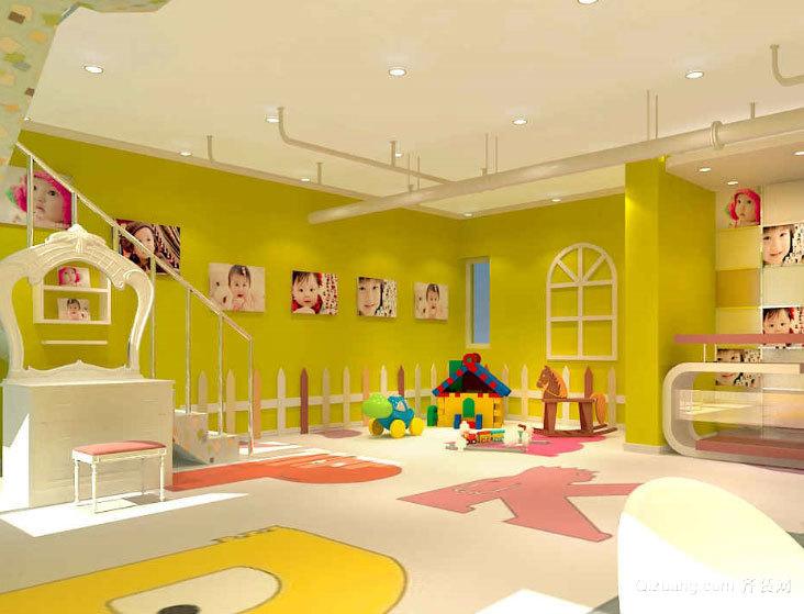 设备齐全清新可爱的大型儿童游乐场装修效果图