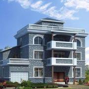 蓝灰色独特农村楼房外观设计