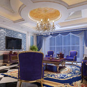 紫色婚房灯饰背景墙