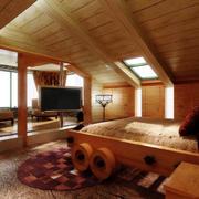原木卧室图示
