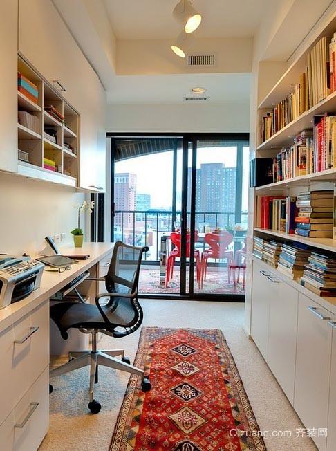 打造完美时尚现代化的小书房书架装修效果图