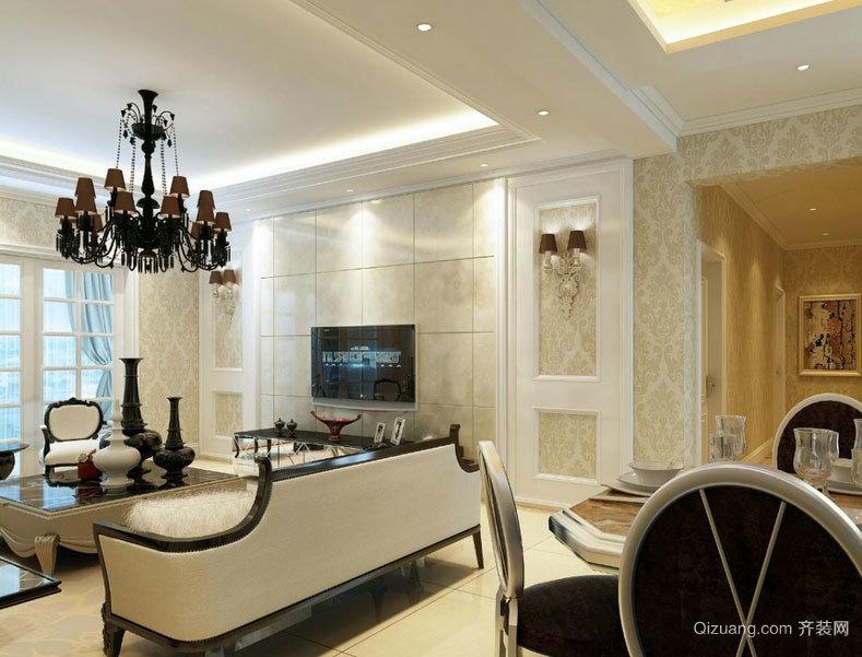 110平米 欧式 客厅 硅藻泥 背景墙装修 效果图 欣赏