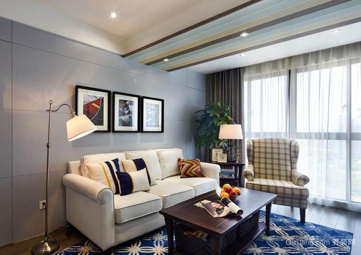 90平米洋气十足的美式混搭风格客厅装修效果图