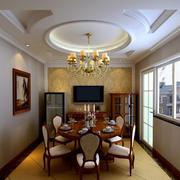 中式餐厅圆形吊顶设计