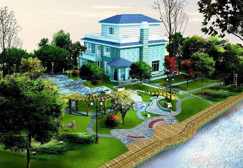 清新秀丽的别墅庭院设计装修效果图