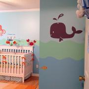 婴儿房彩绘墙装修