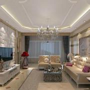 欧式客厅石膏电视墙设计