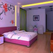 粉色卧室花色墙贴