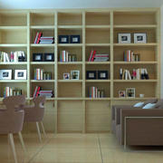 大型简约风格整体书架