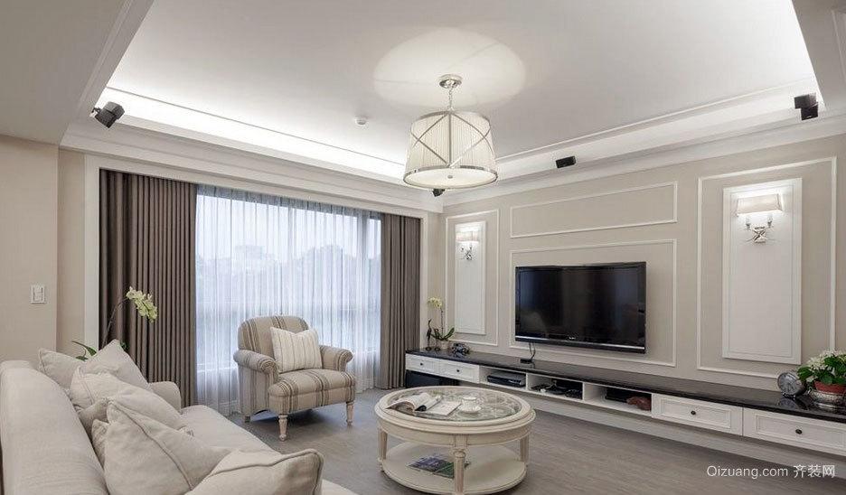 精致简约的100平米房屋客厅电视背景墙装修效果图
