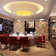 简约风格餐厅双圆型吊顶设计