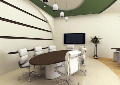 智能控制的多功能多媒体会议室装修设计效果图