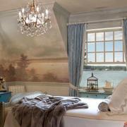 地中海风格卧室蓝色背景墙