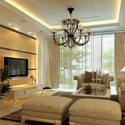 别墅客厅飘逸窗帘设计