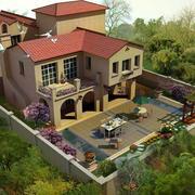 别墅庭院俯瞰图