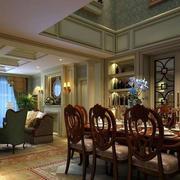 欧式原木深色餐厅桌椅设计