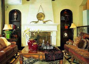 120平米美式风格客厅双叶实木家具装修效果图