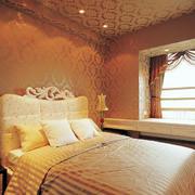 欧式奢华卧室床头壁纸设计