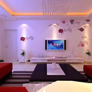 客厅大方彩绘电视墙设计