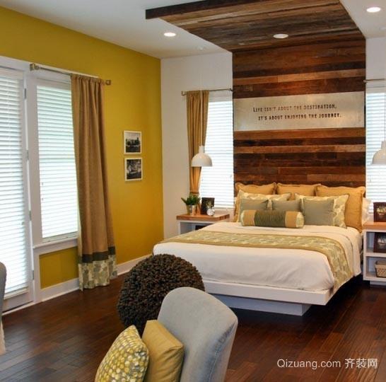 田园风格木屋别墅卧室床头原木背景墙装修效果图