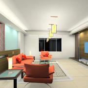 新中式室内沙发效果图