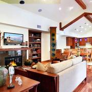 新房原木搭配着的客厅装饰