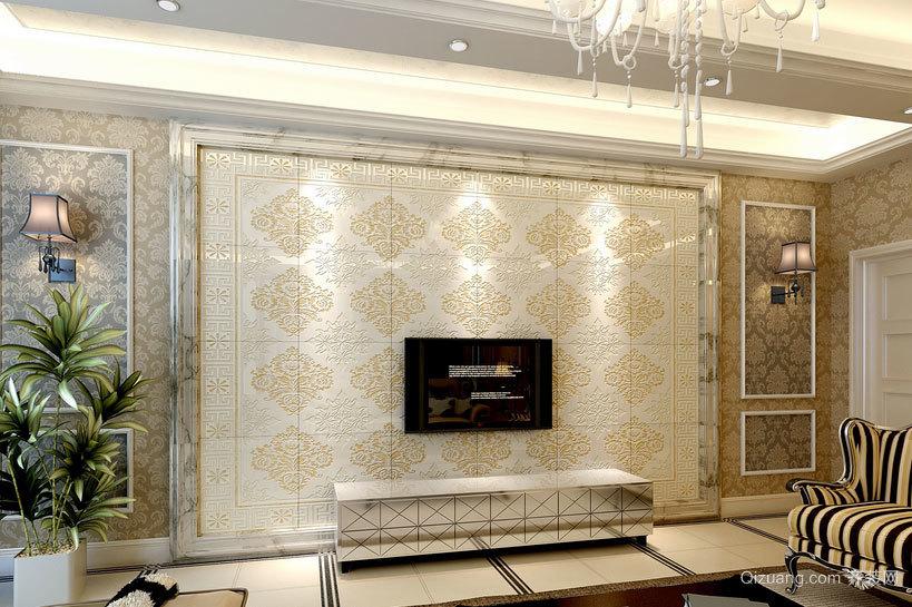 唯美的现代客厅瓷砖背景墙装修效果图案例鉴赏