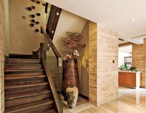 现代简约原木楼梯扶手设计