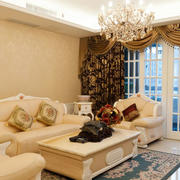欧式客厅大型窗帘设计