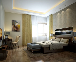 主卧装修:简约大方的后现代风格卧室装修效果图