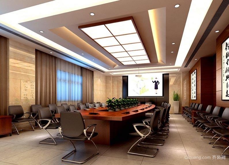 公司讨论事件开会用的多媒体会议室装修设计效果图