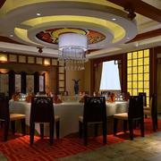 大型别墅餐厅吊顶设计