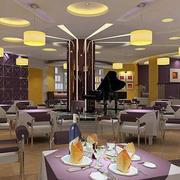 时尚紫色饭店前台背景墙